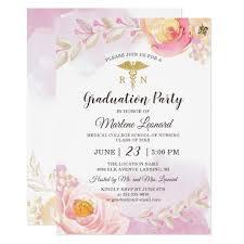 Nursing Graduation Party Invitations Pink Watercolor Rose Garden Nurse Graduation Party Invitation