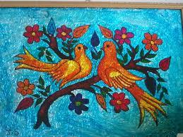 arts crafts glass painting love birds