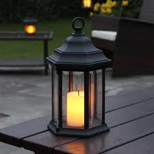 outdoor aluminium lantern flickering amber candle led timer 27 8cm battery