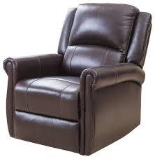 abbyson living elena leather swivel glider recliner brown