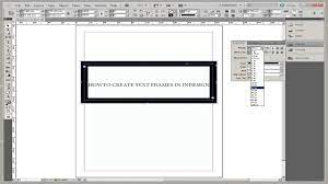 how to create text frames in indesign