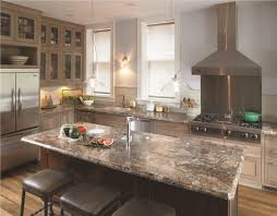 elegant l shaped kitchen with glass front cabinets stainless steel appliances a drop in formica