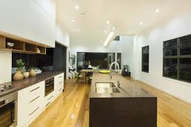 Narrow And Long Kitchen Layout Design With White And Wood Cabinets With A  Long Dark Kitchen