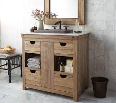 rustic or farmhouse style bath vanities showcase natural woods with warm feel