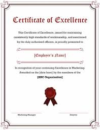 40 Amazing Certificate Of Excellence Templates Printable