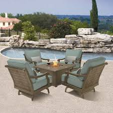 outdoor fire table. Villa 5-piece Seating Set With Fire Pit Outdoor Table