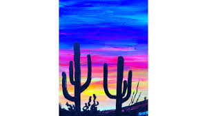 easy desert sunset saguaro s in silhouette acrylic painting tutorial on canvas