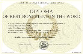 diploma of best boyfriend in the word