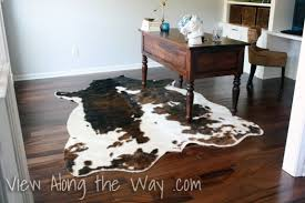 interior architecture minimalist fake cowhide rug on set using a real or faux