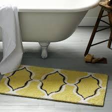 amazing yellow and gray bathroom rug with trellis geometric ogee chain bath mat