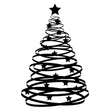 Abstract Xmas Tree: An abstract Christmas tree silhouette with stars. Black  over white.