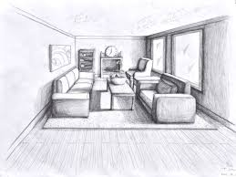 One Room Living Design One Point Perspective Living Room Drawing Design Awesome 1103