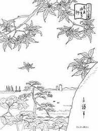 東京海案寺の楓の浮世絵の塗り絵の下絵画像