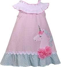 Amazon Com Bonnie Jean Baby Girls Unicorn Seersucker Dress