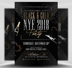 Black Flyer Backgrounds Black Gold Nye Flyer Template Flyerheroes