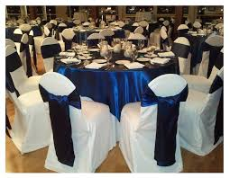 royal blue satin sash tie on white chair covers rs