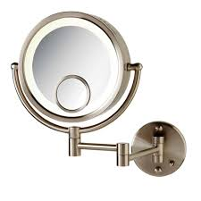 lighted wall mirror. round lighted wall mounted 7x and 15x mirror