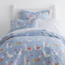 lovely llamas cotton percale multi twin duvet cover