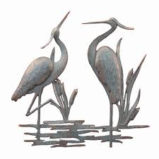 description on white heron wall art with double heron wall hanging decor coastal nautical metal art bird