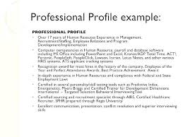Professional Profile Resume Beauteous Resume Profile Example Resume Profiles Examples Resume Profile
