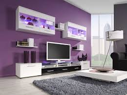 Wall Unit Designs For Living Room White Tv Wall Cabinet Purple Painting Awesome Living Room Design