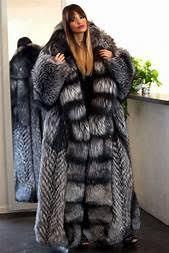 New platinum fox long fur coat hood class- chinchilla sable jacket ...