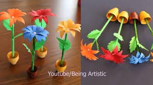 Paper Flower Pots Small Paper Flower And Pot Diy Handmade Craft Home Decor