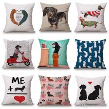 Dachshund Dog Cushion Cover Love Heart Merry Christmas Pillow Cover  Wholesale Sausage Dog Thin Linen Pillow Cases 45x45cm Bedroom Sofa Decor  Outdoor Throw ...