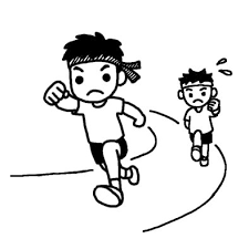 徒競走1運動会体育祭大きな行事学校無料白黒イラスト素材