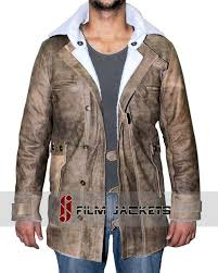 distressed brown leather coat
