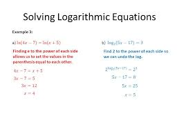 3 solving logarithmic equations finding e