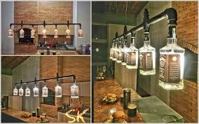 bar lighting ideas. 1. A Chandelier Created From Whiskey Bottles And Metal Pipe Bar Lighting Ideas O