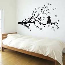 kitchen wall stickers  on tree branches vinyl wall art with cat on long tree branch vinyl wall sticker animals birds wall decal