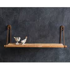 antiqued brass wood wall shelf the