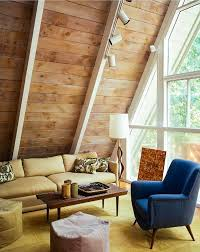 Mid-Century Modern | Living Room | Wood Paneling | A-Frame House |