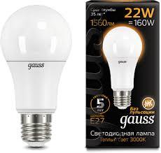 <b>Лампа Gauss LED A70</b> 22W E27 1560lm 3000K 1/10/50 (GAUSS ...