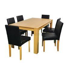westwood quality wooden dining table and 6 pu faux leather high back chairs set