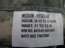 Nato Size Chart Trousers Acu Pants Trousers Medium Regular Usgi Digital Fracu Nsn