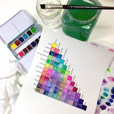 Watercolor Palette Chart Watercolor Mixing Chart For Jane Davenport Bright Palette
