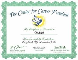 Microsoft Office Training Certificate Portfolio Of Computer Job Skills