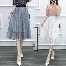 <b>Women Summer</b> Beauty Pleated Elegant Knee-Length <b>Tulle Skirt</b> ...