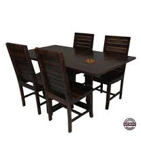angel s modish solid sheesham wood dining table set walnut finish folding dining table