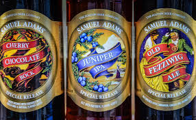 boston beer samuel adams cherry chocolate bock juniper ipa and old fezziwig ale
