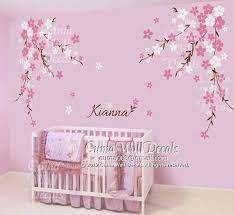 nursery wall decal baby girl and name