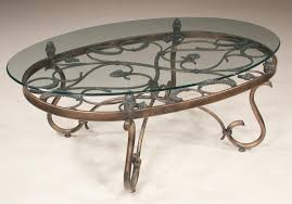 lot oval metal coffee table with leaf