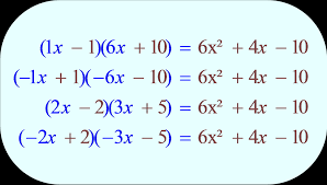 binomial combinations factoring of trinomial trial and error results