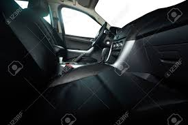 Leather Seats In Modern Pickup Truck With Isolated Windows Stock ...