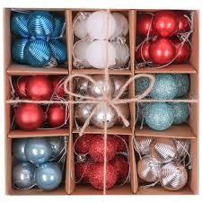 Victors Workshop 54pcs 30mm Weihnachtskugeln Set Plastik Weihnachtsschmuck Dekoration Weihnachtsdeko Rot Blau Silber Weiß