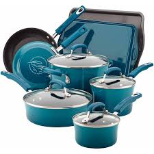rachael ray pan set. Contemporary Ray Rachael Ray Hard Enamel Nonstick 12Piece Cookware Set Inside Pan E
