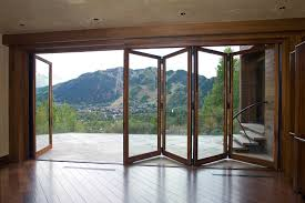 decor cool wood frame polding patio door with clear glass from